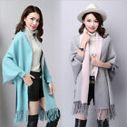 Womens Wool Shawl Cape Poncho Sweater Cardigan Tassels Scarves Scarf Wraps Tops
