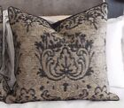 NEW PAIR Textured Black & Taupe Brown MODERN IKAT X Lge or Euro Cushion Covers