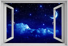 AMAZING MOON AND STARS IN 3D WINDOW EFFECT DECAL
