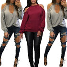 Fashion Women Casual Long Sleeve Off-shoulder Hollow Out T-Shirt Tops Blouse