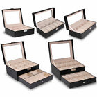 Watch Display Case Faux Leather Storage Box Wristwatches Jewellery Organiser