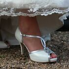 Julieta By Lindsey May Ivory Leather and Silver Trim Wedding Shoe RRP £165