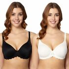 Gorgeous Dd+ Womens Pack Of Two Black And White D-H Non-Padded T-Shirt Bras