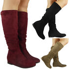 Womens Ladies Faux Suede Mid Calf Boots New Long Mid Low Wedge Heel Shoes Size
