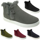 New Womens Fur Pom Pom Fluffy High Top Trainers Ladies Chelsea Ankle Boots Size