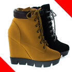 Invent08 Women Combat Work Bootie High Platform Wedge, Lace Up Lug Threaded Sole