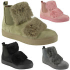 Womens Flat Fur Trainers Ladies Suede Slip On Sneakers Chelsea Boots Shoes Size