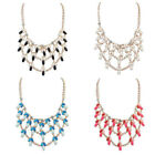 Women Bead Curtain Multi-layer Leaves Resin Chain Chunky Gift Necklace