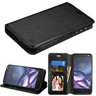 For Motorola Moto Z Play Leather Flip Wallet Case Cover Pouch Folio Stand BLACK