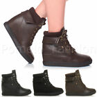 WOMENS LADIES CONCEALED MID WEGDE LACE UP COLLAR ANKLE TRAINERS BOOTS SIZE