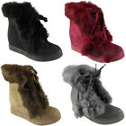 WOMENS LADIES LACE UP FUR POM POM SNEAKERS TRAINERS WEDGE HEEL ANKLE BOOTS SIZE