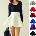 Vintage Women Stretch High Waist Short Plain Skater Flared Pleated Skirt Chic UK