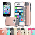 Shockproof Hybrid Rugged Rubber Hard Case Cover For iPhone 4 4S Case + Protector