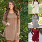 Tops Sweater New Long Sleeve Mini Dress Winter Knitted Hot Jumper Womens Outwear