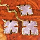Cross Necklace Rose Quartz Gold Pendant AA21 Healing Crystals And Stones