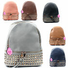 Ladies Large Faux Leather School Bags College Studded Backpack Rucksack Bag