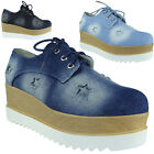 Womens Denim Lace Up Trainers Ladies Star Sneakers Platform Chunky Shoes Size