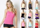 Women Basic Solid Stretch Adjustable Spaghetti Strap Tank Top Cami Camisole