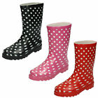 WHOLESALE Children's Polka Dot Wellington Boots / Sizes 12x5 / 14 Pairs / X1118