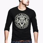 Mens Long Sleeve Round Collar Contrasted Cotton Casual Shirt T-shirt M~XL Black