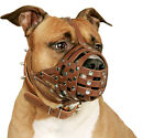 PitBull Dog Muzzle Leather AmStaff Muzzles Staffordshire Terrier Secure Basket