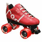 Labeda Voodoo U3 Quad Roller Speed Skates Customized Red w/ Red Dart Wheels