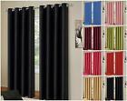 """2017 Faux Silk Ready Made Ring Top Curtains 66"""" x 72"""" / 90"""" x 90"""".Seven Colours"""