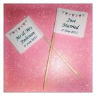 25 Personalised Bunting Wedding Just Married Cupcake Flags Picks Cake Decoration