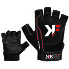 KIKFIT Leather Wheelchair Gloves Half Finger Mobility Disability Crutch Gym