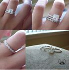 .80 CT 14k White Gold Over Bridal 925 Silver Engagement Ring Wedding Band Set