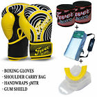 Boxing Sparring Gloves Gum Sheild Hand Wraps Carry Bag 10oz to 16oz Package