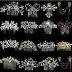 Crystal Rhinestone Pearl Hairpin Flower Diamante Hair Clips Comb Wedding Jewelry