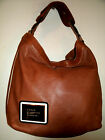 L.A.M.B By Gwen Stefani Gorgeous Tan Leather w/Black w/White Strip Trim Hobo EC!
