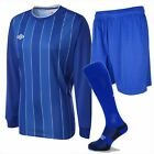 Umbro 'Continental' Men's Football Shirt Royal & White Pinstripes (Sizes M-XL)