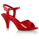 PLEASER FABULICIOUS Belle-309 Red Patent Ankle Strap Drag Queen Ladies Sandals