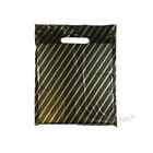 Black and Gold Striped Plastic Carrier Bags Jewellery Fashion Gift Shop Boutique