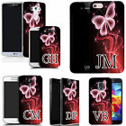PERSONALISED INITIALS SILICONE CASE FOR MANY MOBILES  pink sparkle butterfly GEL
