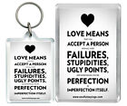 Love Means That You.. True Feelings Imperfections Keyring & Fridge magnet Gift
