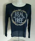 Juniors Realtree Navy Blue & Camo Sheer Long Sleeve Knit Top NWT Free Shipping