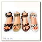 NEW FASHION WOMEN GLADIATOR FASHION STRAP FLAT OPEN TOE SANDAL/A989-5