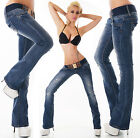 Sexy Women's Wash Blue Bootcut Stretchy Jeans Trousers  Incl. Belt C 009