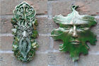 Leaf & Whispy Greenman Garden Wall Plaques Hand Cast & Painted PAGAN WICCAN