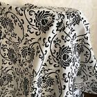 Cotton Linen Fabric Handmade Table Cover Home Deco Vintage Black Flower 17128i S