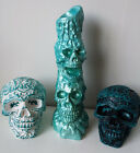 Metallic Turquoise/ Teal SKULL Candle Holder Ornaments Gothic Halloween Handmade