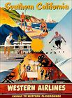 Southern California Western Air Vintage Poster Print Western Playgrounds Travel