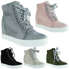 Womens Ladies Lace Up Suede Sneakers Trainers Mid Heel Wedge Ankle Boots Size