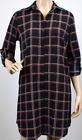 Ladies Womens Fashion Black Checked Print Shirt Dress Plaid Casual Shirt Dress
