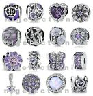 Authentic 925 Sterling Silver Cheerful Shine Purple Charm fit European Bracelet