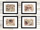 Set of 4 Art Prints Tea Cups Pearls Pink Mauve Home Decor Matted Picture A172