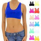 Seamless Solid Racerback Sleeveless Padded Bralette Crop Top Casual ONE SIZE